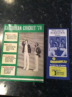 Caribbean Cricket 1974 Brochure With Barbados Insert