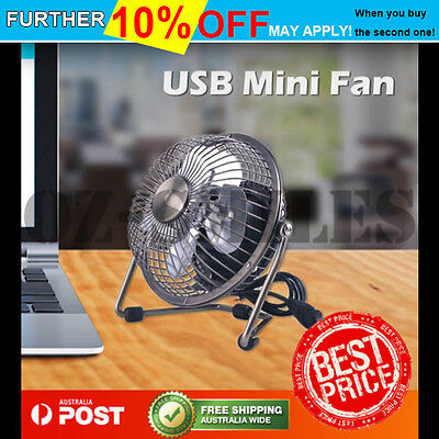 USB Cooling Desk Mini Fan Metal Notebook Laptop Computer Portable