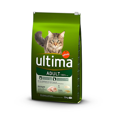 Ultima Poulet et Riz pour Chat Adulte 7,5 kg - Lot de 2