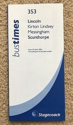 Stagecoach Bus Timetable April 2006 - 353 Scunthorpe Lincoln