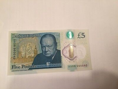 1st Batch Uncirculated Low AA Serial New Plastic £5 Five Pound Note UK