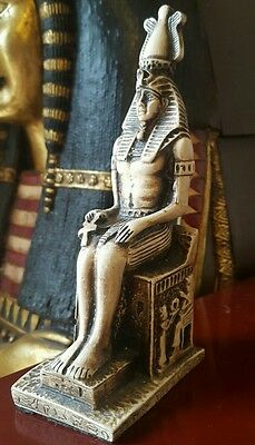 Egyptian Figure King Tut Tutankhamen On His Throne Large Ornament Figurine