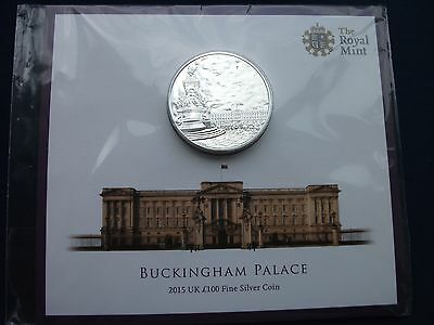 """GREAT BRITAIN £100 SILVER COIN 2015 BUCKINGHAM PALACE  1 ½""""(40mm) Dia. 62.86g"""
