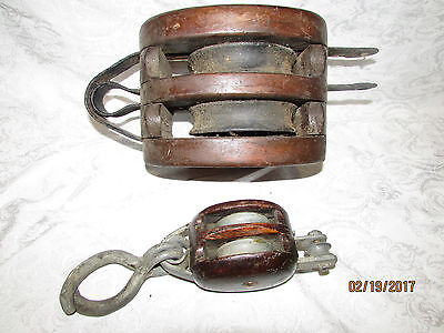(2) Vintage Double Wood Block and Tackle Pulleys One Large on Smaller