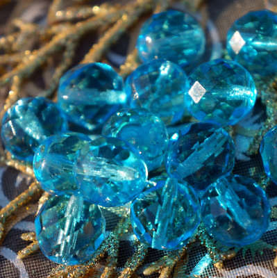 Aqua Blue Crystal Large Czech Glass Faceted Round Beads Fire Polished 12mm 10pcs