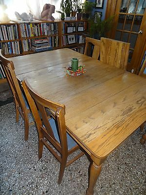 Antique Country Oak dining room table, 6 leaves and 6 chairs CHICAGO local p/u