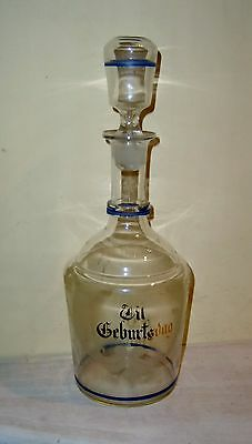 Antique DECANTER Bottle Geburtsdag Stopper Pontil Enamel Old German Etched Blown