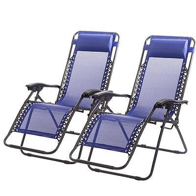 New Zero Gravity Chairs Case Of 2 Lounge Patio Chairs Outdoor Yard Beach Blue