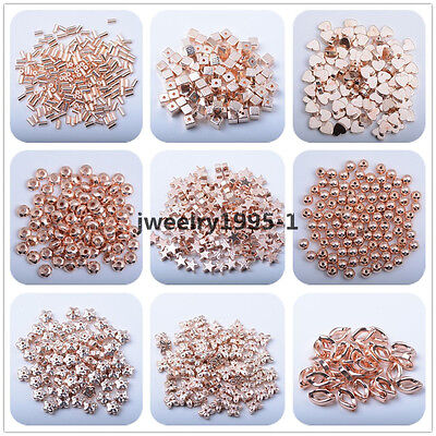 Natural Gemstone Rose Gold Hematite Heart Round Rondelle Flower Spacer Beads