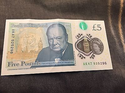 New £5 Note With Serial Number AK47 525296