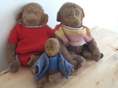 Rare Vintage 1930's Merrythought Lawson Wood Monkey Family