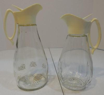Lot Of 2 Log Cabin Syrup Jars With Plastic Pour Lids