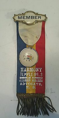 """Vintage """"harmony Temple #3- Pythian Sisters-Advocate, N.s."""" Medal,bar & Ribbons"""