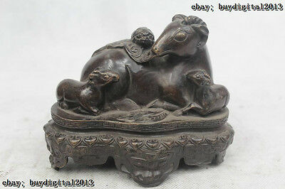"""5""""Chinese Folk Pure Bronze excellent Lucky Money drawing Sheep Statue"""