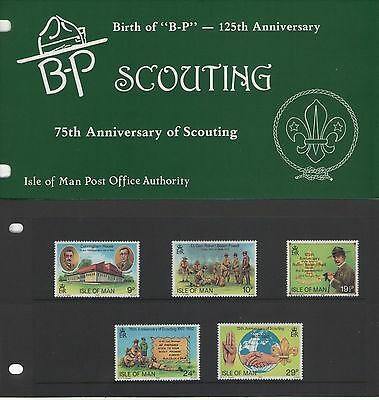 ISLE OF MAN SCOUTING 75th ANNIVERSARY PRESENTATION PACK OF MINT STAMPS FREEP&P
