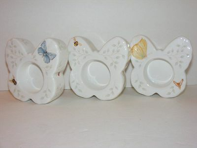 3 LENOX Butterfly Meadow Tealight Candle Holders Louise Le Luyer C8