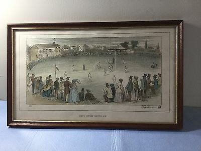"""Antique Vintage Framed Cricketing Colour Print """"lord's Cricket Ground 1787"""" 1853"""