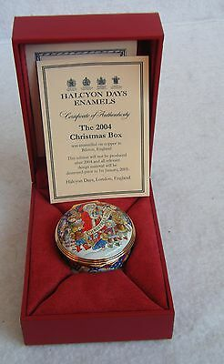 Halcyon Days Christmas 2004 Enamel Trinket Box with Box and Papers