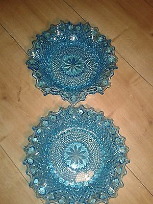 Antique blue glass dish with flutted rim x 2