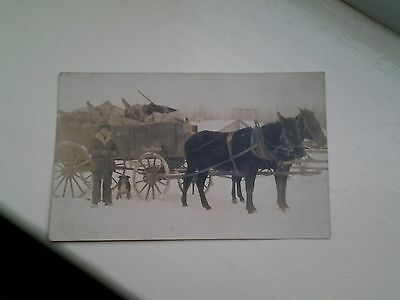 Canadian vintage postcard of Cart and Horses