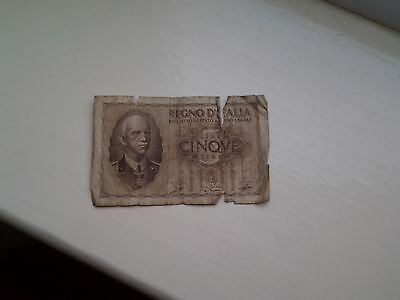 Italy 5 Lire 1940 Banknote