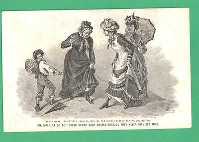 1878 Moseley Shoe Store, Boston Trade Card Mother Daughters Boots Boy
