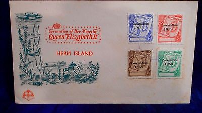Rare 1953 Uk Gb Herm Island Coronation Unadd Four Stamp Cover. Only 93 Exist !