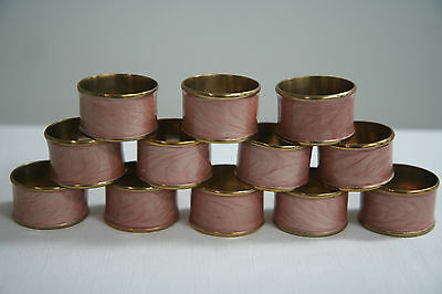 Set of 12 NAPKIN RINGS - Blush Pink Pearlized Enamel on Brass/Gold Color - MINT!