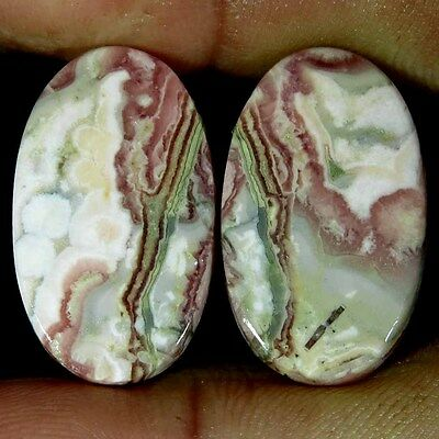 36.95Cts. 100% NATURAL RHODOCHROSITE OVAL CABOCHON MATCHED PAIR LOOSE GEMSTONE