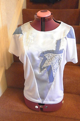 Womens Vintage Bluhmod Top Size  14 White & Blue