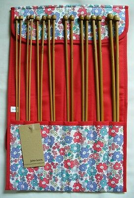 New John Lewis Vintage Style Knitting Needle Roll With Set Of Bamboo Needles