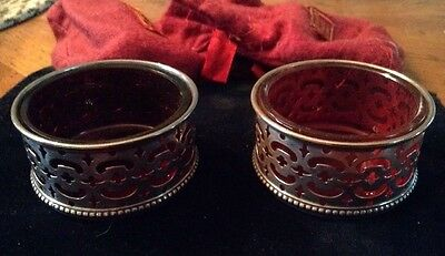 Beautiful 1900 Gorham Sterling Silver Cranberry Glass Open Salts PAIR