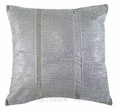 Triple Diamante Silver Grey Sparkle Bling Velvet Chenille 17 inch Cushion Cover