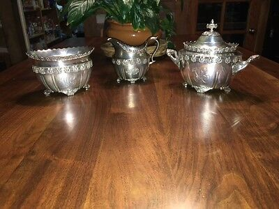 ENGLISH KING BY TIFFANY & CO. STERLING SILVER CREAMER, SUGAR and WASTE BOWL