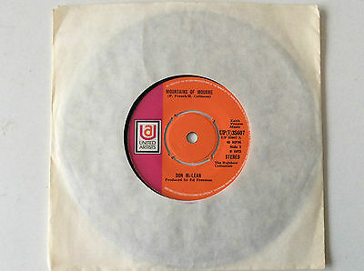 "1973 Irish (A1/B1) 7"" Don McLean - Mountains of Mourne UP(i)35607 (orange label)"