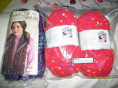Sean Sheep Hand Knit Scarf Kit from Australia/2 balls Chunky Knit Yard Red/Multi