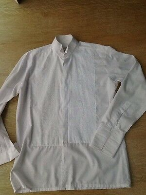"DAVID LATIMER 'WING' COLLAR DRESS SHIRT 15"" WEAR Double Cuff. Mens"