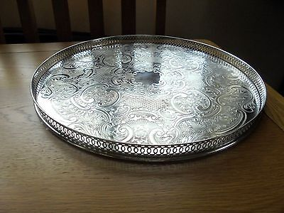 Lovely Silver Plated on Copper Circular Gallery Tray