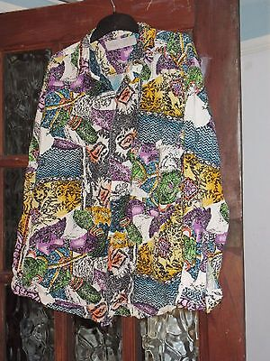 "Vintage 80's shirt 48"" psychedelic abstract print"