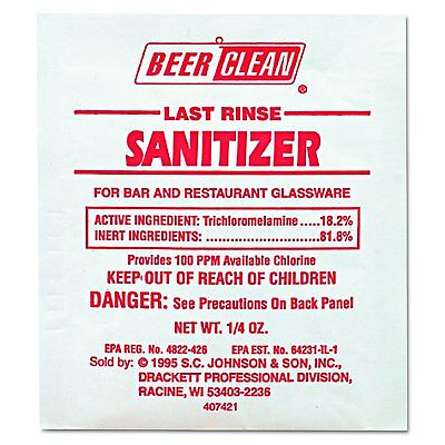 Diversey 90223 Beer Clean Last Rinse Glass Sanitizer, Powder, 1/4 oz. 100-Pack