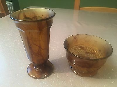 Davidson Cloud Glass Brown Bowl & Vase