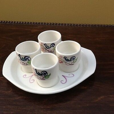 Poole Pottery Four Egg Cups with Tray Floral Design