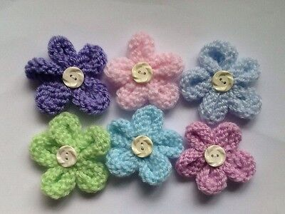 6 Hand Knitted Flowers With Button Detail