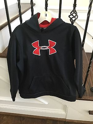 Under Armour Youth Sz Xl Black  Sweatshirt Hoodie Large Red Logo Nice!