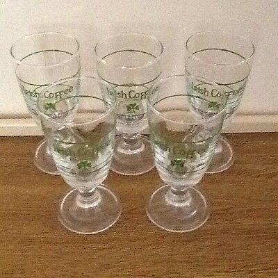 Set Of 5 Vintage Irish Coffee Glasses