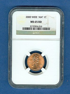 "2000 WIDE AM Type Two Rev. Lincoln Cent MS65 RED ""NGC"""