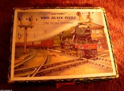 Rare Victory Wood Jigsaw Puzzle The Flying Scotsman In A Good Condition For Age
