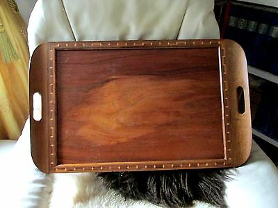 Large  Brazilian Mahogany Butler Tray with Inlayed Rim 25ins x 15ins