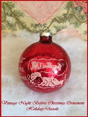 "Vtg Antique Shiny Brite ""Night Before Christmas"" Stenciled Scene Glass Ornament"