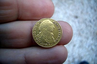 A66* OLD US GOLD very nice 1 Escudos 1781 Madrid mint Spanish Colonial